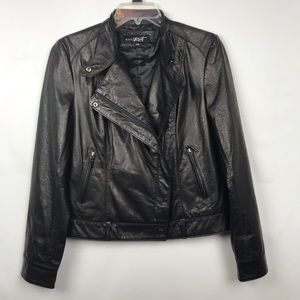Black Rivet | Buttery Soft Leather Moto Jacket